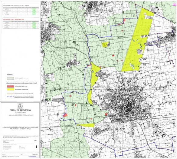 in verde chiaro le aree sottratte al PLIS della Geradadda